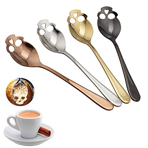 Euone  Spoon Clearance , 4 Pcs Skull Stainless Steel Coffee Drink Mixing Spoon Tableware Kitchen Teaspoon