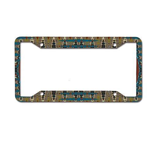 (Koperororo Faux Millefiori South Western Mosaic License Plate Aluminum License Plate Frame Heavy Duty Car Tag (12