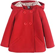 Happy Cherry 2-8T Girls Coat Winter Wool Jacket Double-Breasted Hooded Outwear Coats Red&