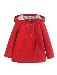 Kids Woolen Overcoat Girls Winter Double-breasted Hooded Warm Coat Jacket