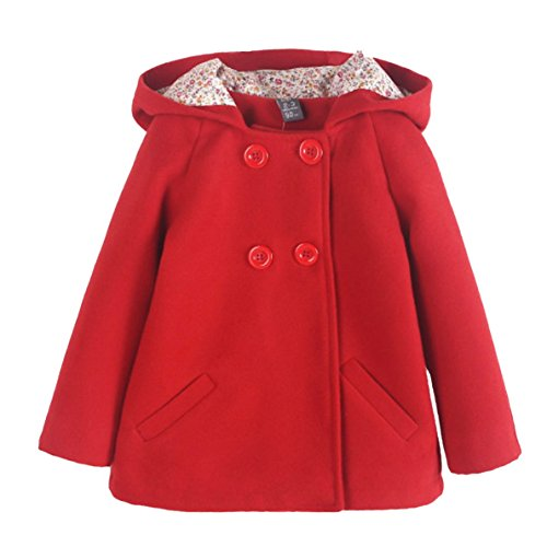 Happy Cherry Toddler Girls Winter Coat Double-Breasted Button Hooded Outerwear Jacket Red 2-3T