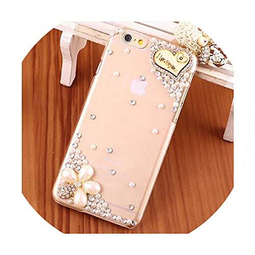 (Diamond TPU+PC Acrylic Crystal Rhinestone Flower Cute DIY Handmade Fashion Bling 3D Luxury Phone Case for Samsung Galaxy S7 G930,Pearl Pendant,PC + TPU)