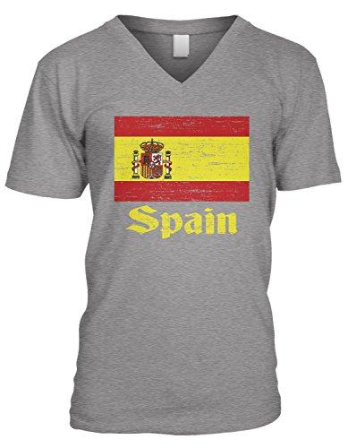 (Amdesco Men's Flag of Spain, Spanish Country Flag, Espana V-Neck T-Shirt, Heather Gray Small)