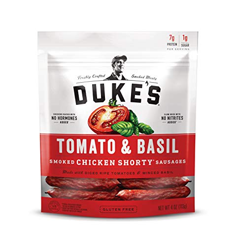 Duke's Tomato and Basil Chicken Smoked Shorty Sausages, 4 oz Bag (Pack of 8)