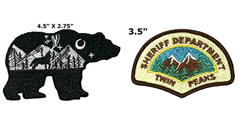 Bear and Twin Peaks National Park Series 2-Pack Embroidered Patch Iron-on Sew-on Explore Nature Outdoor Adventure Explorer Souvenir Travel Vacation Emblem Badge -
