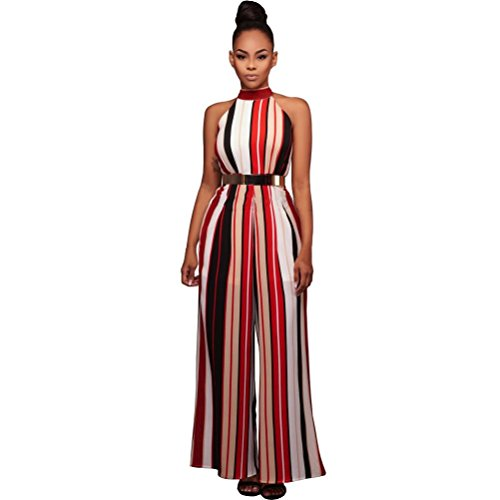 - VEZAD Turtleneck Stripes High Waist Flared Jumpsuits Women Sleeveless Rompers Pant