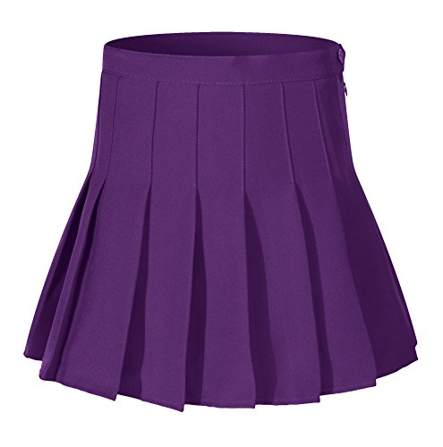 Girl's School Uniform Costumes Solid Pleated Mini Skirt(XS, Dark Purple) ()