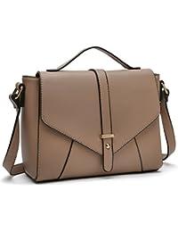 Medium Sized Crossbody Purses Ladies Designer Shoulder Bags for Women Handbags (Khaki)