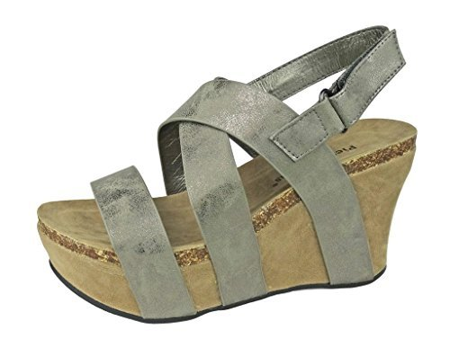 (Pierre Dumas Women's Hester-5 Vegan Leather Strappy Wedge Sandals,Pewter,8.5)
