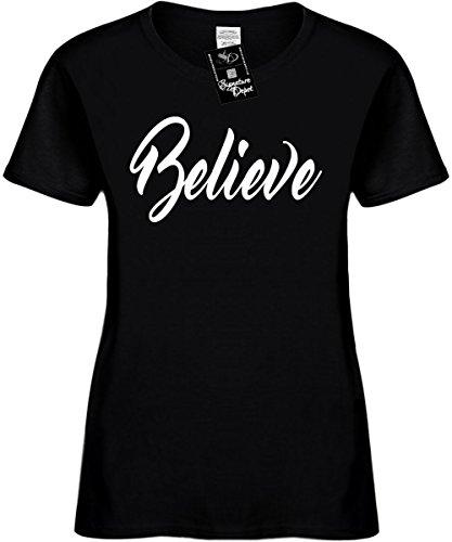 Religious T-shirts Gods (Signature Depot Women's Size L Funny T-Shirt (Believe (Religious God Faith) Ladies Shirt)