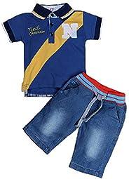 Hooyi Boys Cotton T-Shirt Jeans Suit Short-Sleeve Turndown Collar Children's Clothing Tro