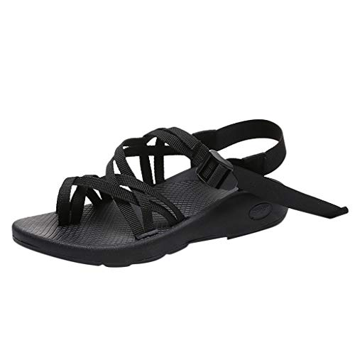 Aunimeifly Women's Matching Color Outdoor Sandals Clip Toes Beach Flat Ankle Buckle Soft Hiking Shoes Black
