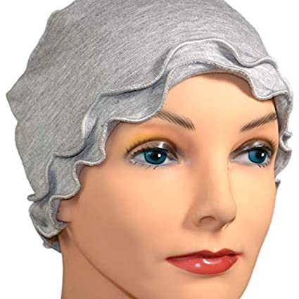 7757bd1d713 Amazon.com   Light Gray Chemotherapy Hat Chemo Cancer Hat Sleep Cap Fringe  Ruffle Lightweight for Women Cancer Patients   Everything Else