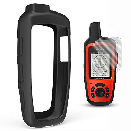 TUSITA Case with Screen Protector for Garmin inReach SE+ Plus/Explorer+ Plus Satellite Tracker,Replacement Silicone Protective Skin Cover (Black) by TUSITA