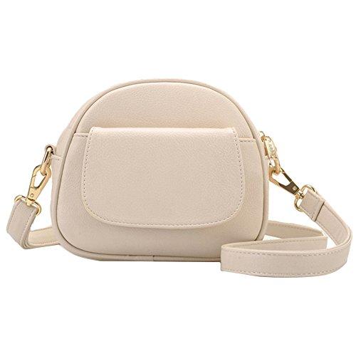 GSPStyle Damen Schultertasche Ohne Pattern Handtasche Kleine Cross Body Tasche Umhängetasche Farbe Beige