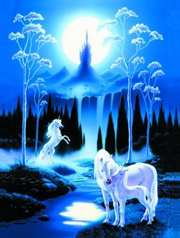 Moonlit Unicorn and Foal Foil Framed Print - 8 x 10 Inches Custom Imprinting With Silver Foil Ink Framed Art - Beautifully Hand-engraved and Embossed Foil Prints - Great For Any Room Of Your Home