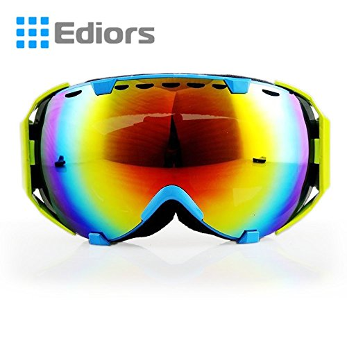 Ediors® Windproof Motorcycle Snowmobile Ski Snow Goggles Eyewear Sports Protective Safety Glasses - Anti Fog Double Lens All Mountain / UV Protection (YELLOW & BLUE, TENDED RED) (Best Type Of Snowboard For Beginners)