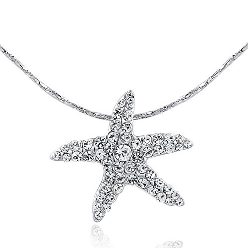 AROUND 101 Swarovski Elements AAA Zircon Starfish Sea Star Austrian Crystal Necklace (Silver)