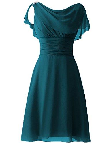 Robes De Demoiselle D'honneur En Mousseline De Soie De Femmes Cdress Court De Paillettes Mancherons Bal Robes Formelles Ink_blue