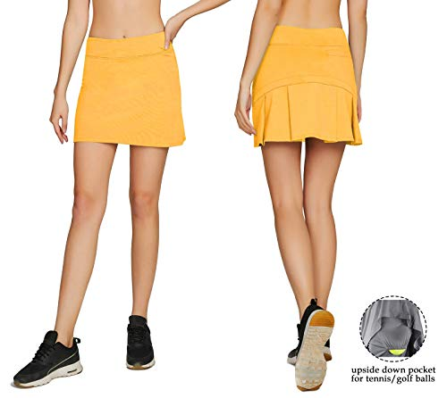 Cityoung Women's Casual Pleated Golf Skirt with Underneath Shorts Running Skorts XS (Yellow Golf Shorts)