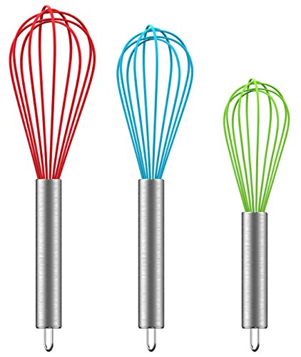 - Ouddy Silicone Whisk Set of 3 - Kitchen Balloon Wire Whisk Set Egg Beater Milk Frother Kitchen Utensils for Blending, Whisking, Beating, Stirring, Multicolors(8inch + 10inch + 12inch)