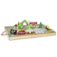 Melissa & Doug Take-Along Railroad (Portable Tabletop Set, 3 Train Cars, 17 Pieces), Great Gift for Girls and Boys - Best for 3, 4, and 5 Year Olds, Multicolor