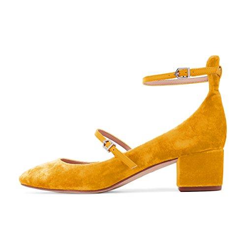 XYD Womens Retro Marry Jane Block Heel Pumps Velvet Ankle Strap Round Toe Dress Shoes Size 9.5 Orange by XYD (Image #2)