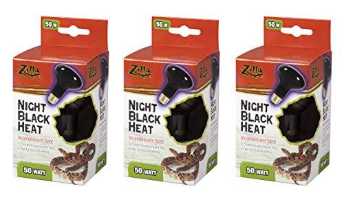 Zilla 3 Pack of Night Black Heat Incandescent Spot Bulbs, 50 Watts, Reptile Night Heat Lamps
