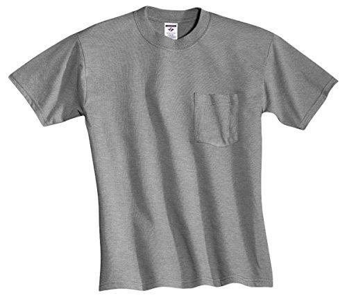 Jerzees 5.6 oz., 50/50 Heavyweight Blend Pocket T-Shirt, Large, OXFORD
