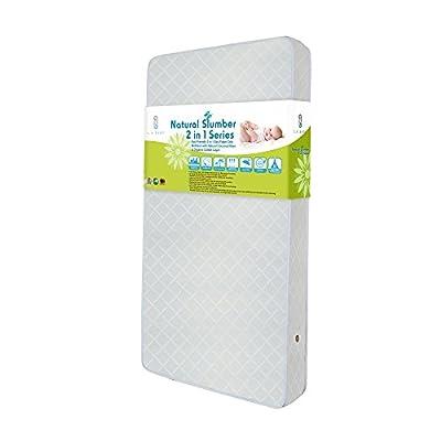 LA Baby Eco Friendly 2 in 1 Soy Foam Crib Mattress with Natural Coconut Fiber & Organic Cotton Layer