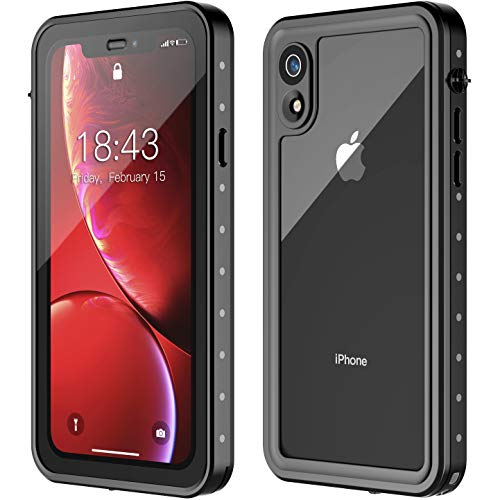 iPhone XR Waterproof Case, MYJOJO Upgrade Better Sound Built in Screen Protector 360° Full Body Protective Shockproof Dirtproof IP68 Underwater Waterproof Case for iPhone Xr 2018(6.1inch)(Black/Clear