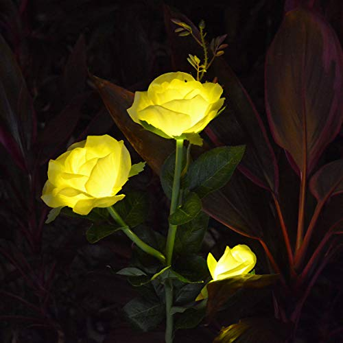 LAMPDREAM Outdoor Rose Flowers Solar Stake Lights Waterproof Memorial Garden Stake for Garden Back Yard Lawn Grave Decor, Yellow (Lights Garden Ornamental)