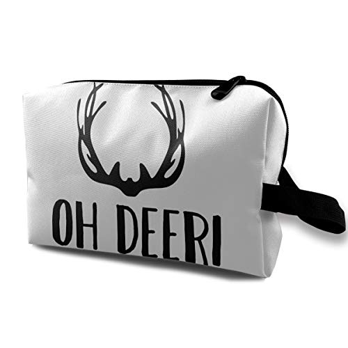 SSFEQ Oh Deer Funny Pun Halloween Ladies Girls Travel Toiletry Cosmetic Makeup Pouch Clutch Storage Bag Card Package -