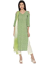 025bb0c89f Green Pure Cotton Block Print Kurta Pant Dupatta Set