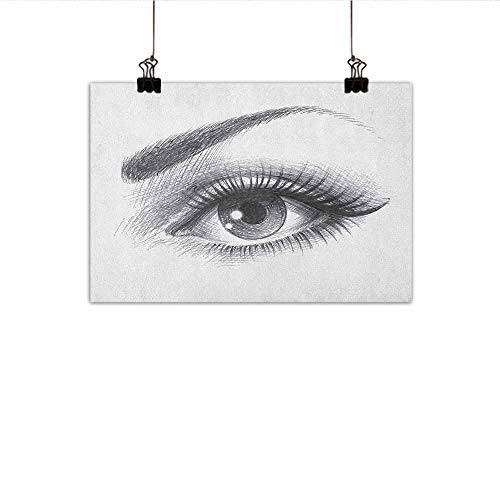 Littletonhome Eye Abstract Painting Pencil Drawing Artwork of a Staring Female Eye with Long Lashes and a Curvy Eyebrow Natural Art 31