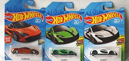 Hot Wheels McLaren 720s Orange 178/365 and McLaren P1 White 170/365 McLaren P1 Green 317/365 3 Car Bundle Set