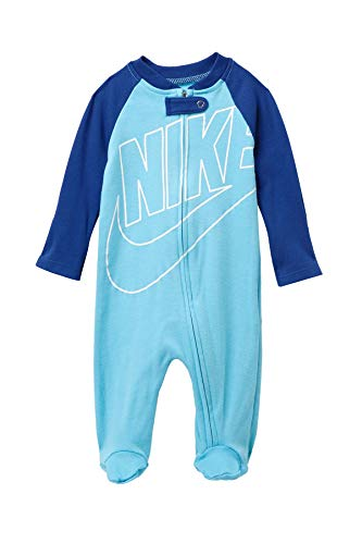 Nike Infant/Toddler Printed Footed Coverall (Blue Gaze(56D892-C3L)/White, 9 Months)