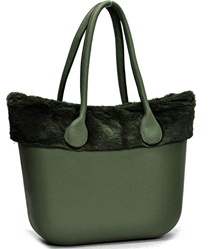 Ricamati blu Manici Silicone Pelo Donna Verde Sacca Borsa Scocca Smontabile Bordo Completa Pelliccia Bag Fantasia Spalla 6wKpqz