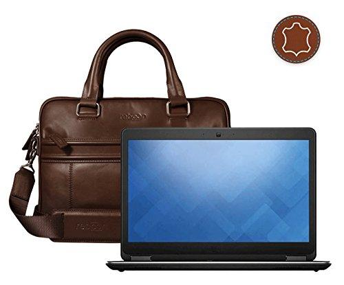 reboon Echt-Leder Laptop-Tasche in Braun Leder für Dell Latitude Refurbished 14 | 15 Zoll | Notebooktasche Umhängetasche | Damen/Herren - Unisex | Premium Qualität Braun Leder