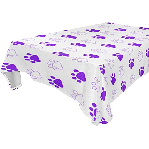 Table Cloth Purple Paw Prints Rectangle/Oblong Polyester Tablecloth Washable Table Cover for Dinner Picnic, Buffet Table, Parties