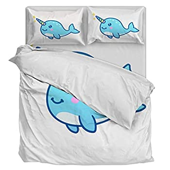 Image of Home and Kitchen Aiesther Bedding Set Duvet Cover 4 Piece Cute Narwhal Soft Twill Plush Quilt Cover, Include 1 Duvet Cover 1 Flat Sheet and 2 Pillow, for Adults Children Boys Girls King