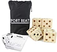 SPORT BEATS Giant Wooden Yard Dice for Yard Outdoor Games Lawn Games Large Yard Dice Set of 6 Perfect for Camp
