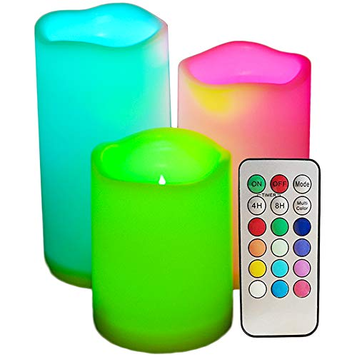 SWEETIME Led Flickering Flameless Candles - Color Changing Candles with Timer & Remote Control, Battery Operated Outdoor Waterproof Pillar Candles, Set of 3, 3x4 3x5 3x6 Multi -