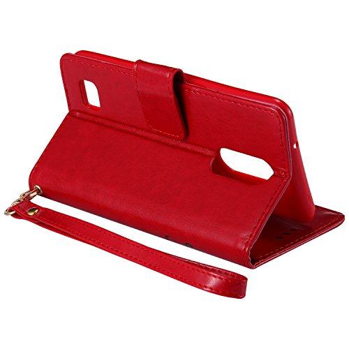 Ecoway Para LG K8 Funda, (Rosa roja)Noctilucent Cuero de la PU Leather Cubierta - Series de tiempo de ocio niña , Función de Soporte Billetera con Tapa para Tarjetas Soporte para Teléfono rojo
