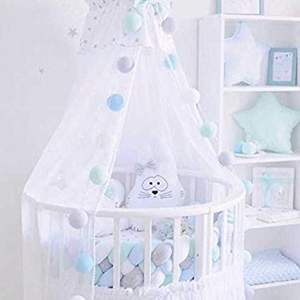 Baby Bumper Nesting Edge Protector Head Crib cot Pillow Length Decorations for notted for Newborns Bed Sleep 220cm White+Light Pink+Light Yellow+Pink ZQ Children Bedside Crib 4 Braided 86.6inch