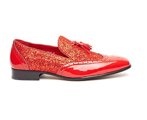 Rossellini Antonio Mens Brogues Patent Tassle Loafer Shoes With Breathable Leather Lining Red SH6xe