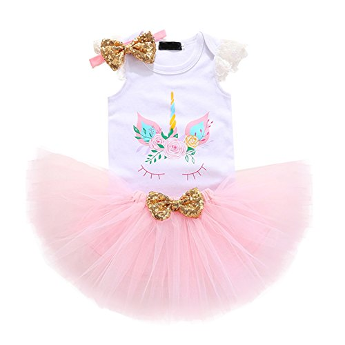 Unicorn Birthday Outfit Rainbow Tutu Dress Baby Girls Romper + Ruffle Tulle Skirt + Flower Horn Headband Halloween Fancy Dress up Party Costume 3Pcs Cake Smash Set Clothes Pink+Lace Sleeve Age 1 Year