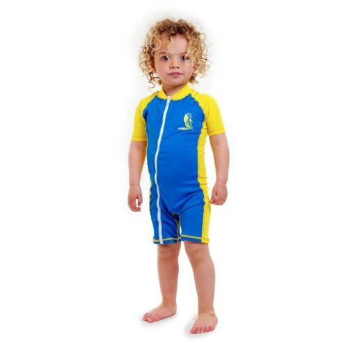 Baby Infant Size M Uv Protection One-piece Blue/yellow Swimsuit Age 12-24 Month