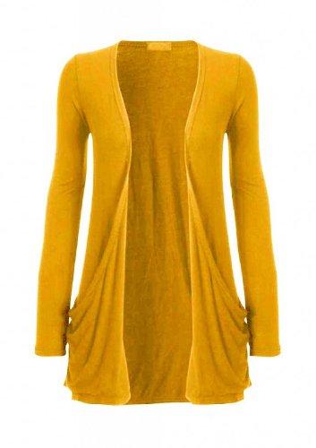 Hot Hanger Femme manches longues Cardigan haut : Color - Jaune moutarde : Size - 40-42 ML