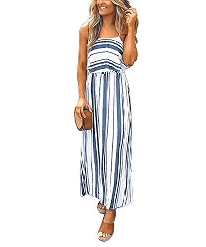 - VYNCS Women's Dress Summer Spaghetti Strap Sundress Casual Striped Midi Sleeveless Dresses (White Stripe, Large)